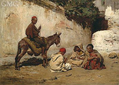 Arab Children Playing Cards, 1873   Frederick Arthur Bridgman   Painting Reproduction