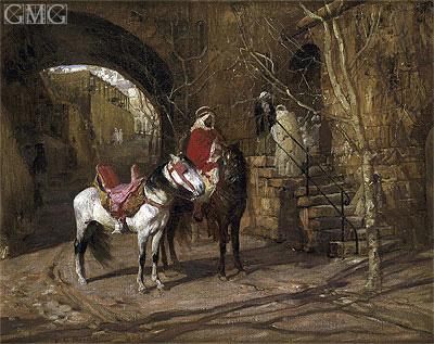 Horseman in a Courtyard, 1889 | Frederick Arthur Bridgman | Painting Reproduction