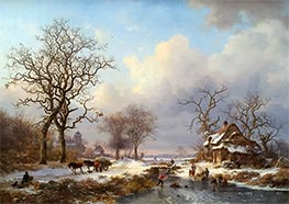 Dutch Winter Landscape with Skaters, 1864 by Kruseman | Giclée Canvas Print