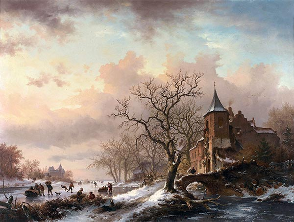 Castle in a Winter Landscape and Skaters on a Frozen River, 1855 | Kruseman | Painting Reproduction