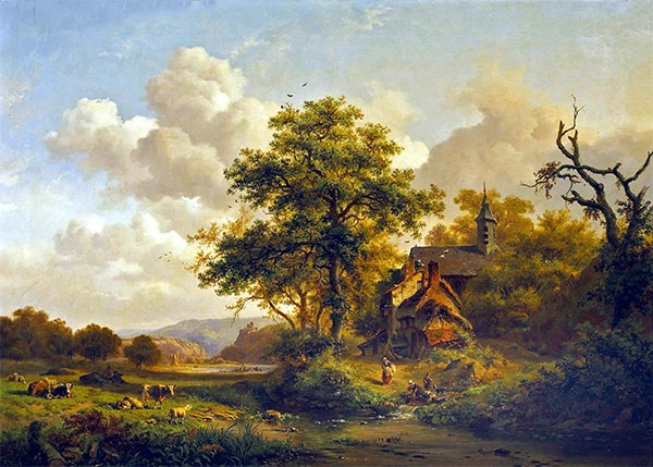 A Tranquil Landscape with Women Washing by a Stream and Cattle and Sheep Resting, 1858 | Kruseman | Painting Reproduction