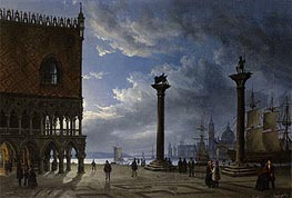 Friedrich Nerly | Piazza San Marco by Moonlight, 1847 | Giclée Canvas Print