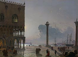 Friedrich Nerly | A Moonlit View of the Piazza San Marco towards San Giorgio Maggiore, 1849 | Giclée Canvas Print