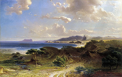 The Beach at Estepona with a View of the Rock of Gibraltar, 1855   Fritz Bamberger   Painting Reproduction