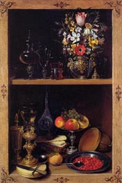 Georg Flegel | Cupboard Picture with Flowers, Fruit and Goblets, c.1610 | Giclée Canvas Print