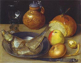 Georg Flegel | Still Life with Herring and Bearded Man Jug, undated | Giclée Canvas Print