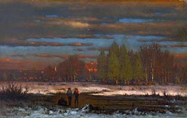 George Inness | Winter Evening, Medfield, undated | Giclée Canvas Print