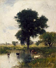 Cattle in Pool (A Summer Landscape), 1880 by George Inness | Giclée Canvas Print