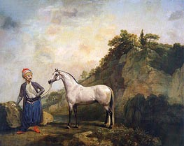 George Stubbs | Gray Arabian with a Groom, c.1765/66 | Giclée Canvas Print