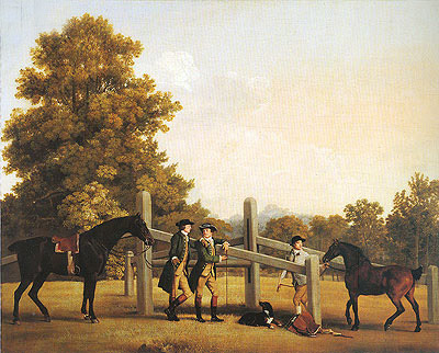 William Henry Cavendish-Bentinck, Third Duke of Portland and His Brother Lord Edward Bentinck with a Groom and Horses, c.1866/67   George Stubbs   Painting Reproduction
