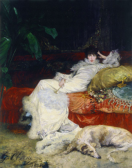 Portrait of Sarah Bernhardt, 1876 | Georges Jules Victor Clairin | Painting Reproduction