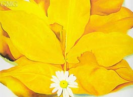 O'Keeffe   Yellow Hickory Leaves with Daisy   Giclée Canvas Print