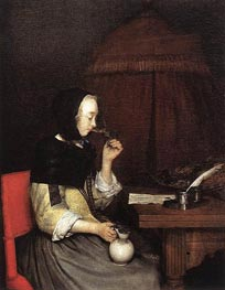 Gerard ter Borch | Woman Drinking Wine, c.1656/57 | Giclée Canvas Print