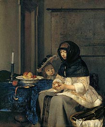 Gerard ter Borch | Woman Peeling Apples, 1660 | Giclée Canvas Print