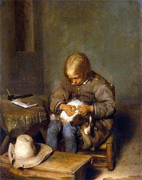 Gerard ter Borch | Boy Ridding his Dog of Fleas, c.1665 | Giclée Canvas Print
