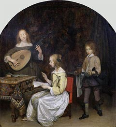 Gerard ter Borch | The Concert: Singer and Theorbo Player, c.1657 | Giclée Canvas Print