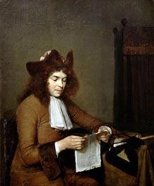 Gerard ter Borch | Young Man Reading a Letter, c.1680 | Giclée Canvas Print