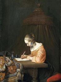 Gerard ter Borch | Woman Writing a Letter, c.1655 | Giclée Canvas Print