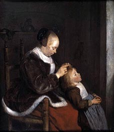Gerard ter Borch | Hunting for Lice (A Mother Combing the Hair of her Child), c.1652/53 | Giclée Canvas Print