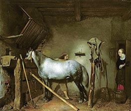 Gerard ter Borch | Horse Stable, c.1652/54  | Giclée Canvas Print