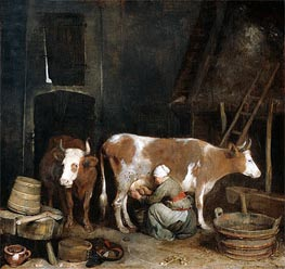 Gerard ter Borch | A Maid Milking a Cow in a Barn, c.1652/54  | Giclée Canvas Print