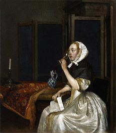 Gerard ter Borch | Young Woman with a Glass of Vine,  Holding a Letter in her Hand, c.1665 | Giclée Canvas Print