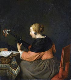 Gerard ter Borch | A Lady Seated at a Table Playing a Lute, c.1657 | Giclée Canvas Print