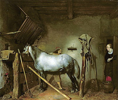 Horse Stable, c.1652/54  | Gerard ter Borch | Painting Reproduction