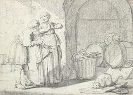 Gerbrand van den Eeckhout | Genre Scene with a Man a Woman and a Cat, undated | Giclée Paper Print