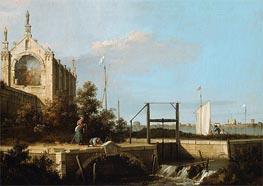 Canaletto | Capriccio: A Sluice on a River with a Chapel | Giclée Canvas Print