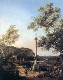 Canaletto | English Landscape Capriccio with a Column | Giclée Canvas Print