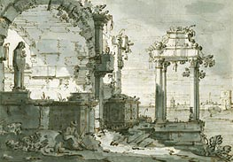 Canaletto | A Capriccio of Church Ruins on the Shores of the Lagoon | Giclée Paper Print