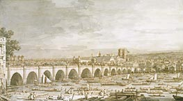 Canaletto | Westminster Bridge, London, with a Procession of Civic Barges, c.1747 | Giclée Paper Print
