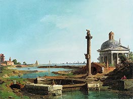 Canaletto | A Lock, a Column, and a Church beside a Lagoon | Giclée Paper Print