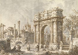 Capriccio with a Roman Triumphal Arch, c.1720/30 by Canaletto | Giclée Paper Print
