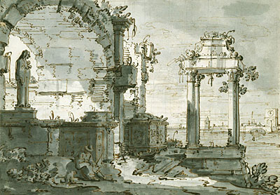 A Capriccio of Church Ruins on the Shores of the Lagoon, c.1740/45 | Canaletto | Painting Reproduction