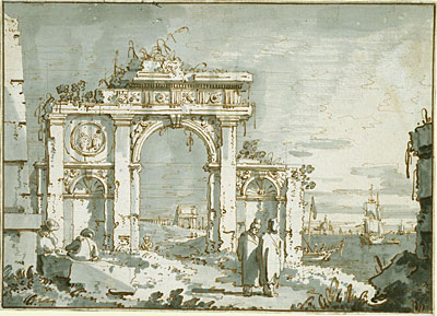 A Capriccio of a Ruined Arch on the Shores of a Lagoon, c.1740/45 | Canaletto | Painting Reproduction