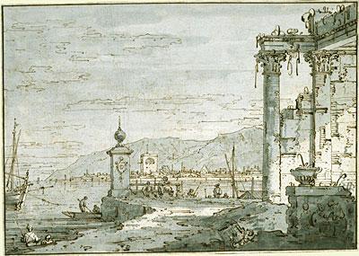 A Coastal Capriccio, c.1740/45 | Canaletto | Painting Reproduction