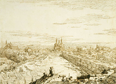 Padua: A Distant View of Santa Giustina and Sant'Antonio from the Ramparts, c.1742 | Canaletto | Painting Reproduction