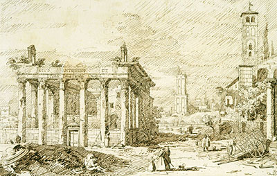 Rome: The Temple of Antoninus and Faustina, c.1742 | Canaletto | Painting Reproduction
