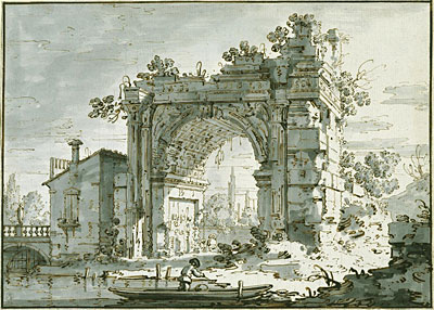 A Capriccio with a Roman Arch, c.1742/45 | Canaletto | Painting Reproduction