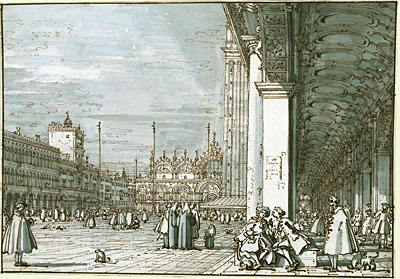 Canaletto | The Piazza Looking North-East from the Procuratie Nuove, c.1745 | Giclée Paper Print