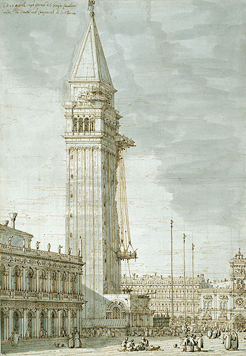 The Campanile under Repair, c.1745 | Canaletto | Painting Reproduction