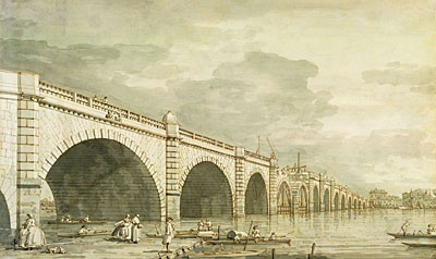 London: Westminster Bridge under Construction, c.1750 | Canaletto | Painting Reproduction