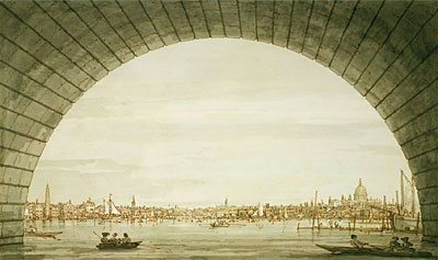 London: The City Seen through an Arch of Westminster Bridge, c.1750 | Canaletto | Painting Reproduction