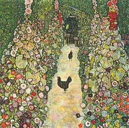 Klimt | Garden Path with Chickens, 1916 | Giclée Canvas Print
