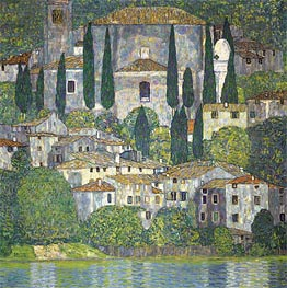 Klimt | Church in Cassone (Landscape with Cypresses), 1913 | Giclée Canvas Print