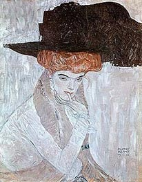 Klimt | Woman with Black Feather Hat, 1910 | Giclée Canvas Print