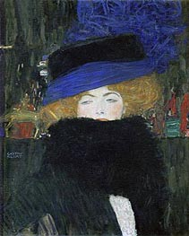 Klimt | Lady with Hat and Feather Boa, 1909 | Giclée Canvas Print