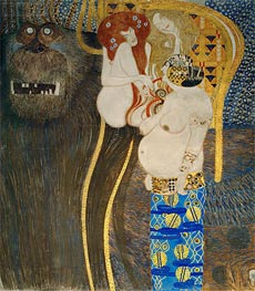 Klimt | Detail from The Hostile Powers (The Beethoven Frieze) | Giclée Canvas Print